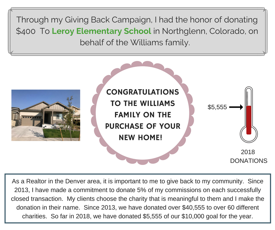 CONGRATULATIONS TO THE WILLIAM'S FAMILY ON THE PURCHASE OF YOUR NEW HOME!